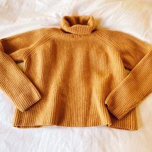 Banana Republic Mustard Cropped Turtleneck Sweater